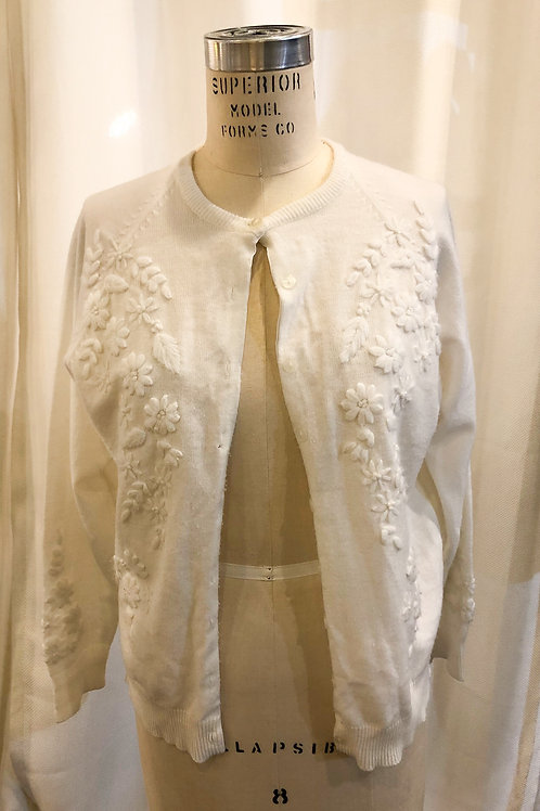 Vintage White Embroidered Cardigan