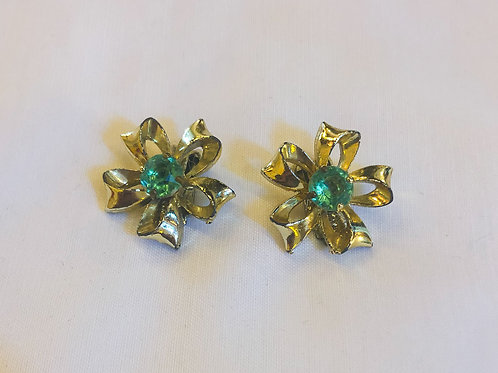 Vintage Green and Gold Flower Clip-On Earrings