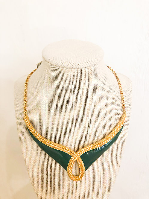 Vintage Green and Gold Braided Necklace