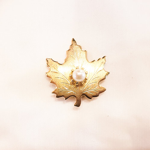 Vintage Gold Leaf and Pearl Brooch