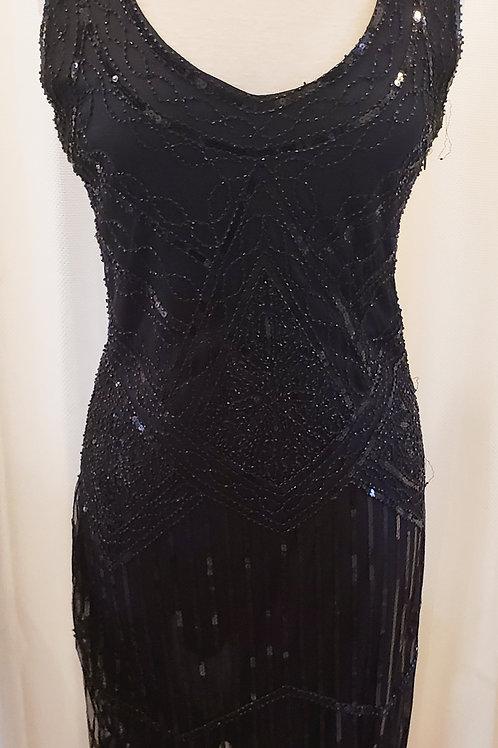 Vintage-Inspired Black Sequin Dress