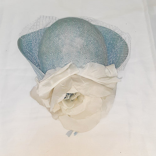 Vintage Blue Fedoria Hat with Flower and Net Veil