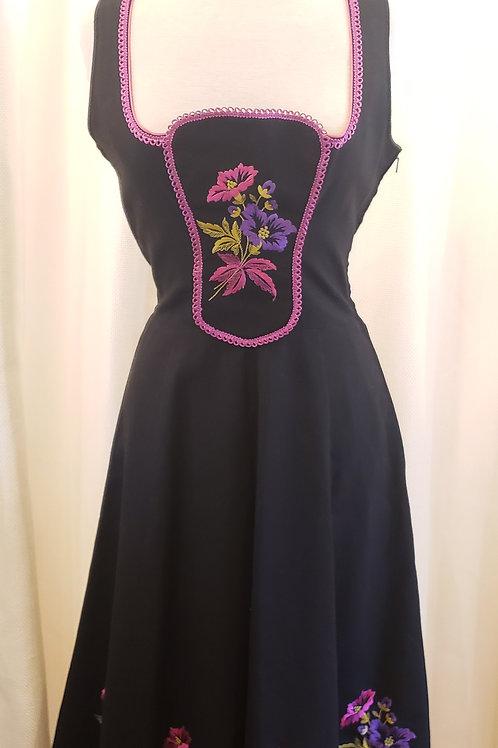 Vintage Black Dress with Floral Panel