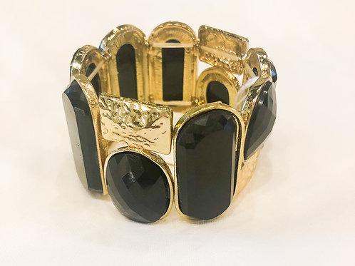 Vintage Black and Gold Geometric Bracelet