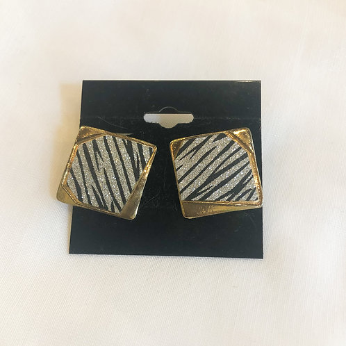 Vintage Zebra Sparkle Clip-On Earrings