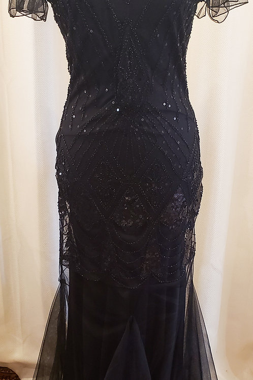 Vintage-Inspired Black Sequin Floor-length Dress