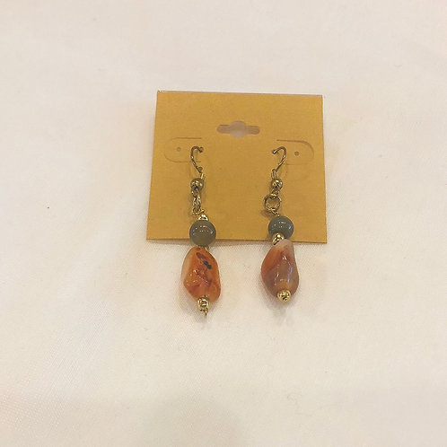 Vintage Orange Bead Dangle Earrings
