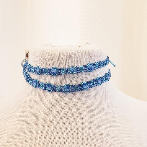 Vintage Blue Beaded Choker
