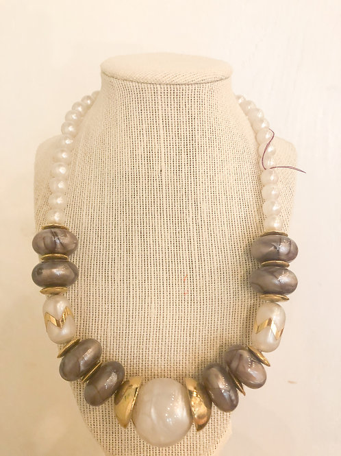Vintage Marble Beaded Necklace