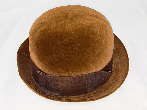 Vintage Brown Bowler Hat with Bow