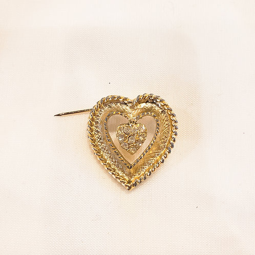 Vintage Small Gold Heart Brooch