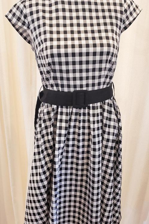 Vintage-Inspired Black and White Gingham Dress