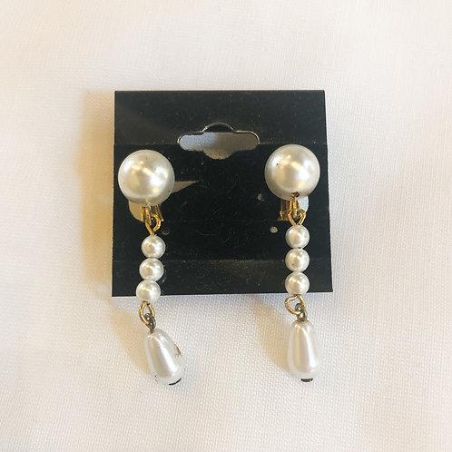 Vintage Pearl Drop Clip-On Earrings
