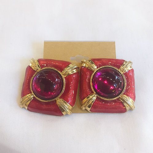 Vintage Pink Statement Clip-On Earrings
