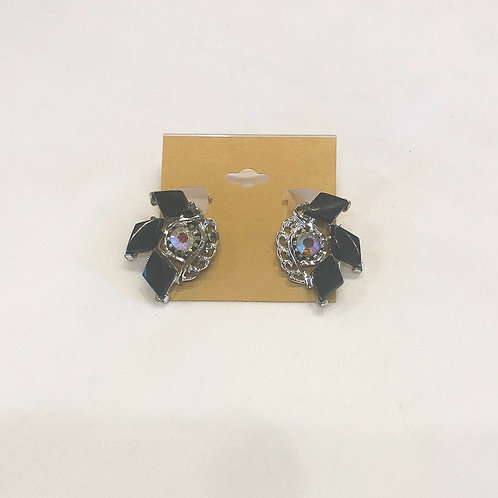 Vintage Silver and Black Clip-On Earrings