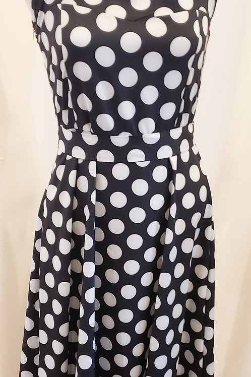 Vintage-Inspired Black and White Polka Dot Halter Dress