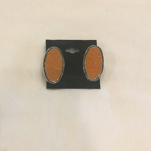 Vintage Orange Oval Clip-On Earrings