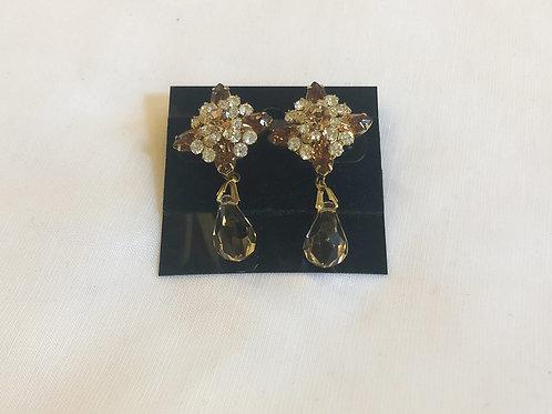 Vintage Brown and Rhinestone Teardrop Earrings