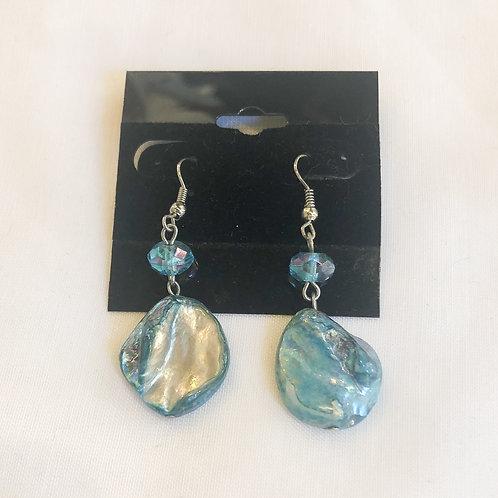 Vintage Blue Iridescent Drop Earrings