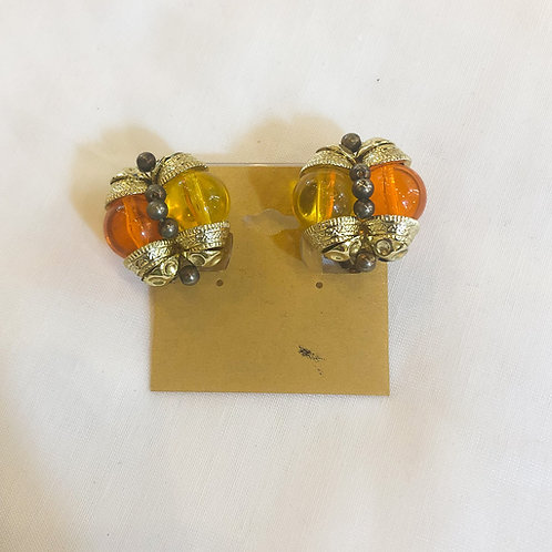 Vintage Orange and Yellow Clip=On Earrings