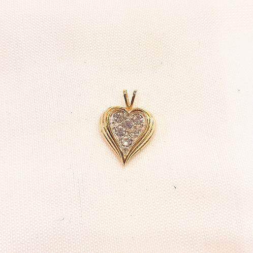 Vintage Rhinestone Heart Pendant