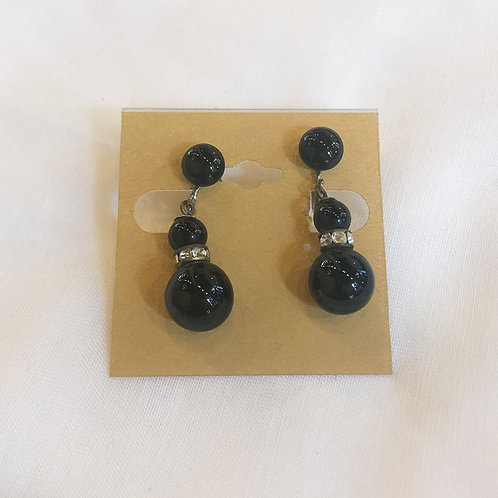 Vintage Black Bead Dangle Earrings