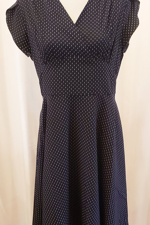 Vintage-Inspired Black and White Micro Dotted Dress