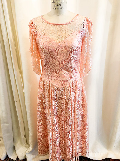 Vintage Pink Lace Dress with Bow Detail