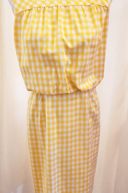 Vintage Yellow and White Gingham Dress