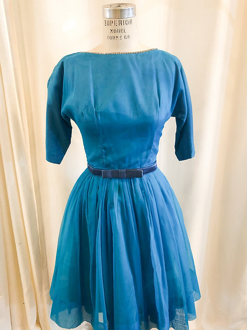 Vintage Blue A-Line Dress with Bow