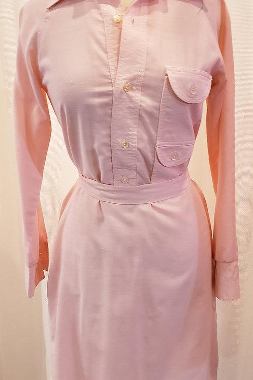 Vintage Pastel Pink Long-Sleeve Dress