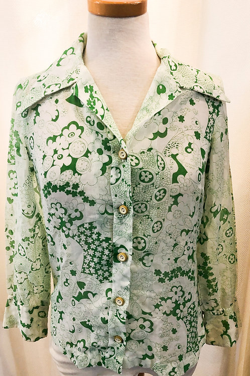 Vintage Green and White Floral McMullen Blouse