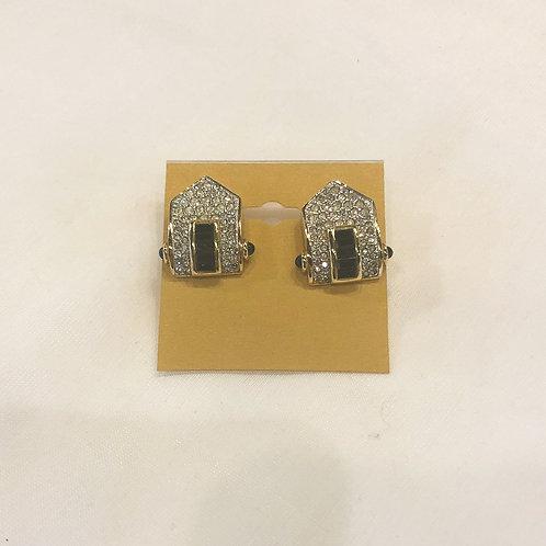 Vintage Rhinestone and Black Clip-On Earrings