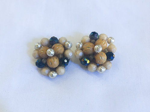 Vintage Brown and Blue Cluster Clip-On Earrings