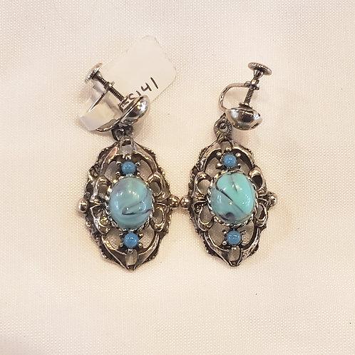 Vintage Blue Oval Screw-back Earrings