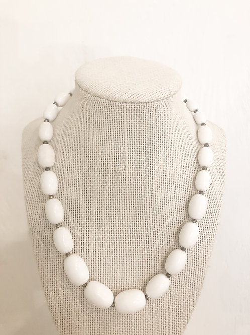 Vintage White Oval Beaded Necklace