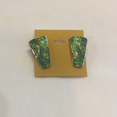 Vintage Green Clip-On Earrings