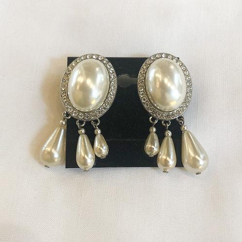 Vintage Pearl and Rhinestone Statement Earrings