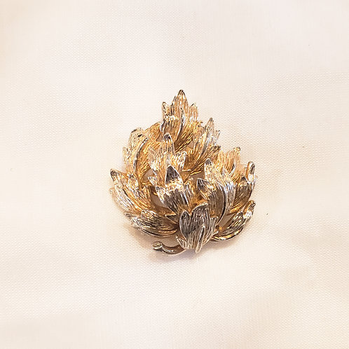 Vintage Gold and Silver Leaves Brooch