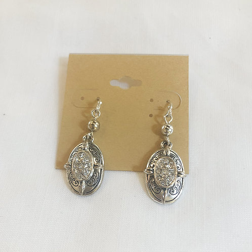 Vintage Rhinestone Oval Earrings