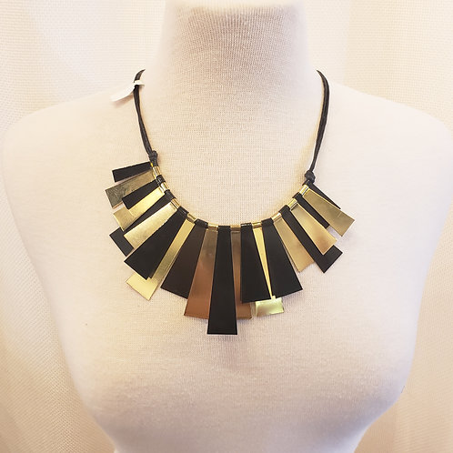 Vintage Black and Gold Statement Necklace