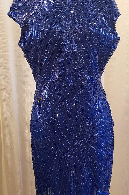 Vintage-Inspired Blue Sequin Dress
