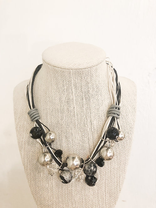 Vintage Black and White Rope Necklace