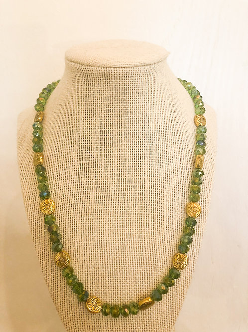 Vintage Green and Gold Beaded Necklace