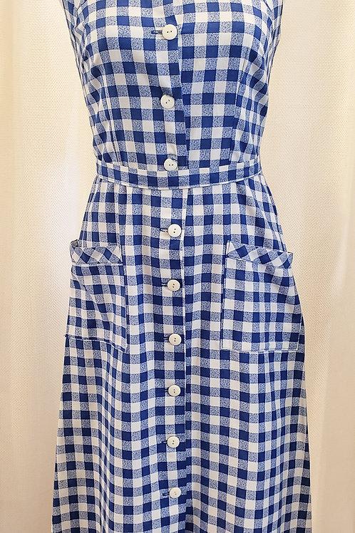 Vintage Blue and White Gingham Handmade Dress