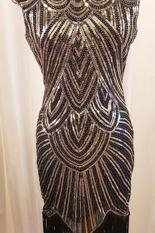 Vintage-Inspired Black and Gold Sequin Cap Sleeve Dress