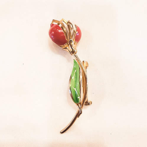 Vintage Red Flower Brooch