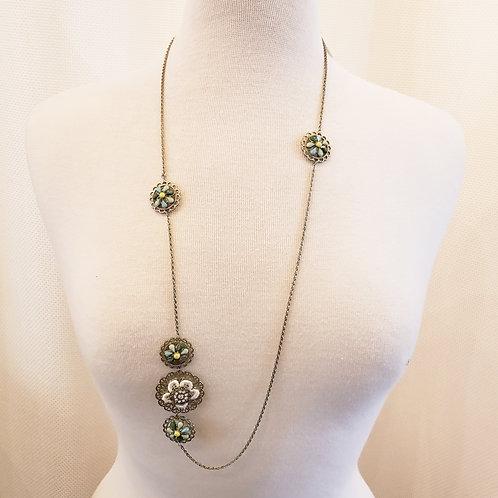 Vintage Asymmetrical Flower Necklace