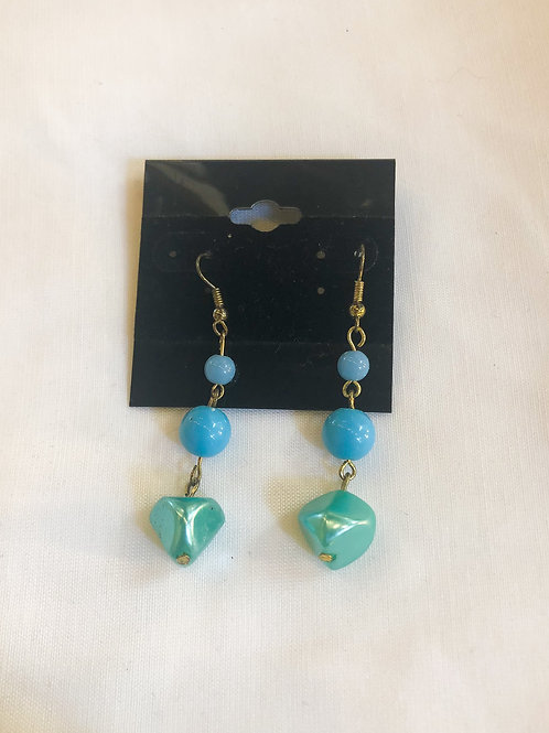 Vintage Blue and Green Dangle Earrings