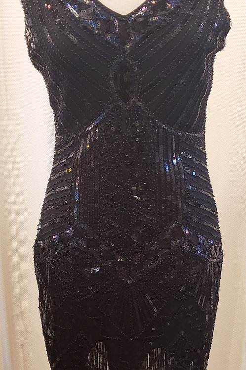Vintage-Inspired Black and Iridescent Sequin Sleeveless Dress